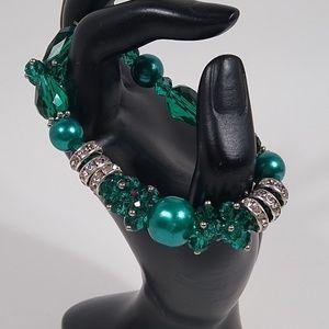 Bracelet Green Silver Sparkly Stretch Handmade